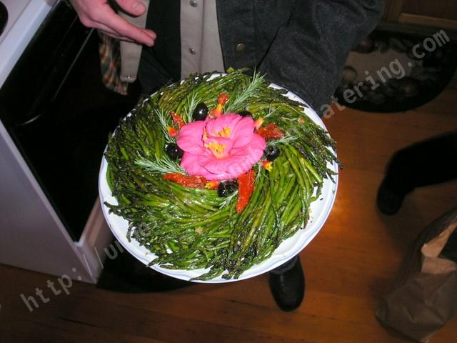 Marinated Asparagus Plate with flowers offers vitamins and nutrients